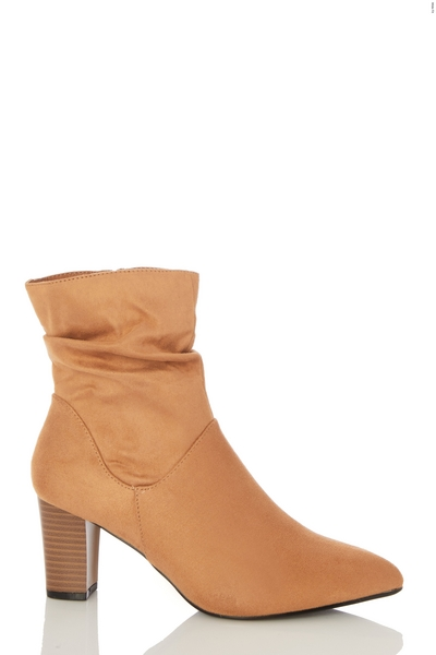 Wide Fit Tan Faux Suede Ruched Ankle Boot